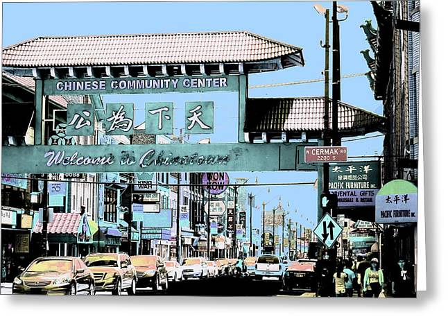 Welcome To Chinatown Sign Blue Greeting Card