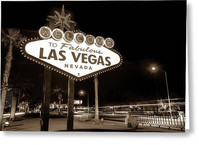 Welcome To Fabulous Las Vegas - Neon Sign In Sepia Greeting Card by Gregory Ballos