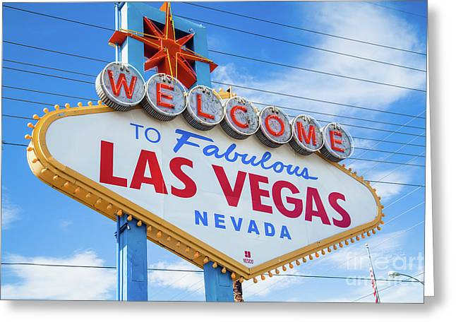 Welcome To Fabulous Las Vegas Sign Greeting Card by Martin Williams