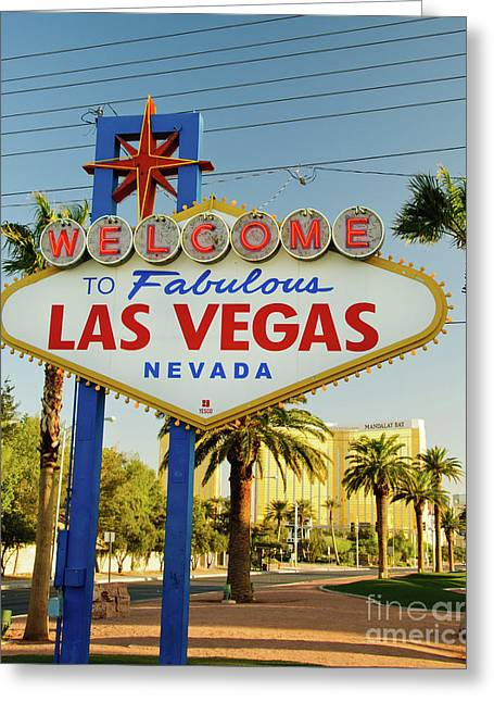 Welcome To Las Vegas Greeting Card by Charles Dobbs
