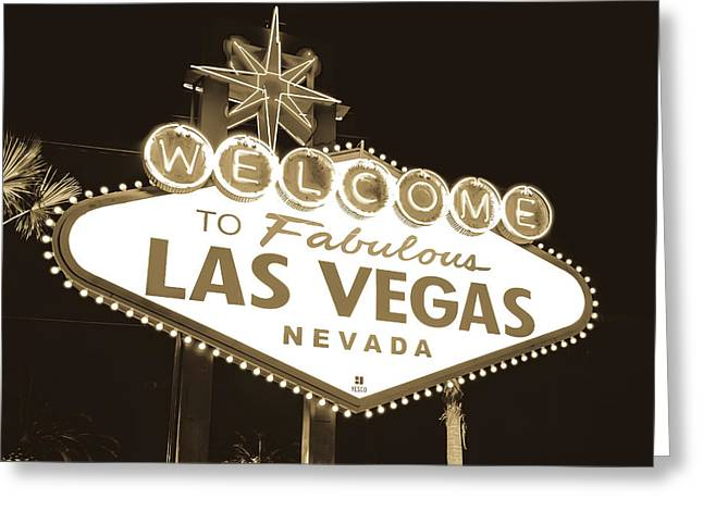 Welcome To Las Vegas Neon Sign In Sepia - Nevada Usa Greeting Card by Gregory Ballos