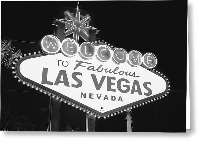 Welcome To Las Vegas Neon Sign - Nevada Usa - Black And White Greeting Card by Gregory Ballos