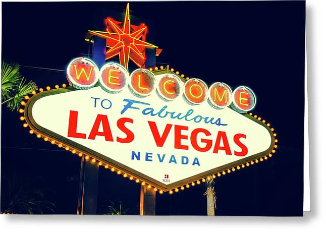 Welcome To Las Vegas Neon Sign - Nevada Usa Greeting Card by Gregory Ballos