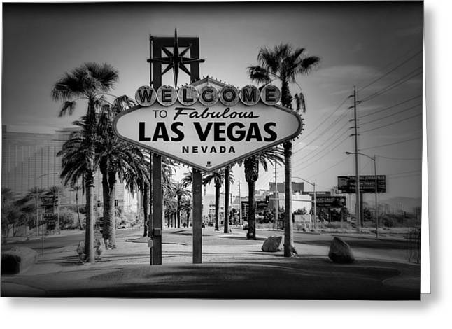 Welcome To Las Vegas Series Holga Black And White Greeting Card by Ricky Barnard