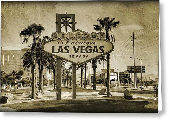 Buildings Greeting Cards - Welcome To Las Vegas Series Sepia Grunge Greeting Card by Ricky Barnard