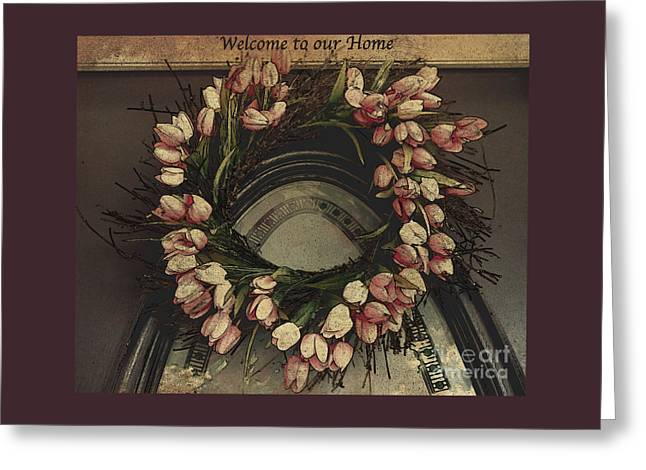 Welcome To Our Home / Burgundy Greeting Card