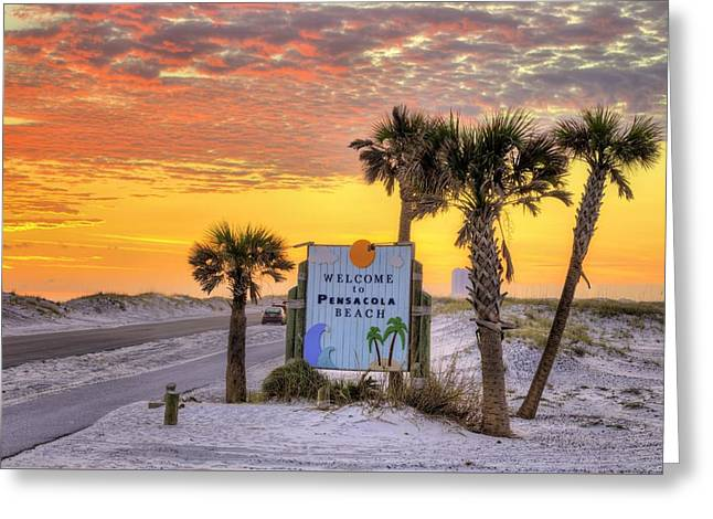 Welcome To Pensacola Beach And Its Gorgeous Sunsets Greeting Card by JC Findley