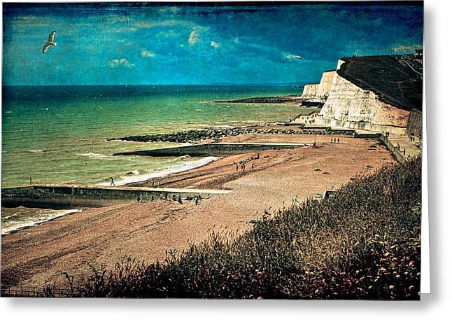Groin Greeting Cards - Welcome to Saltdean An Imaginary Postcard Greeting Card by Chris Lord