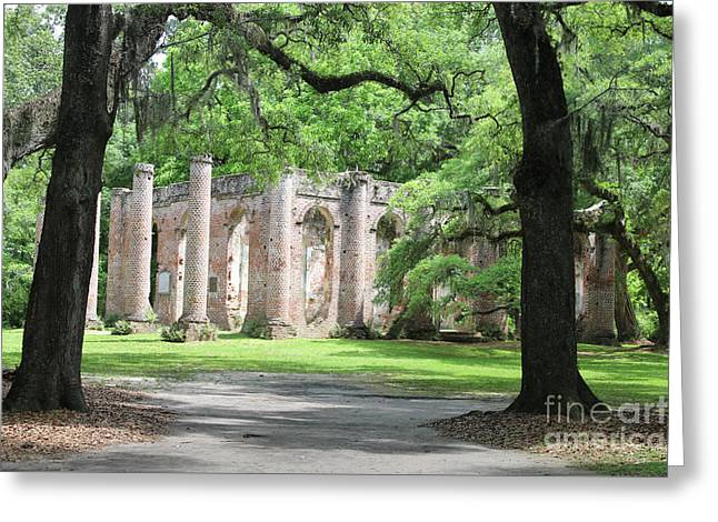 Welcome To Sheldon Church Ruins Greeting Card by Carol Groenen
