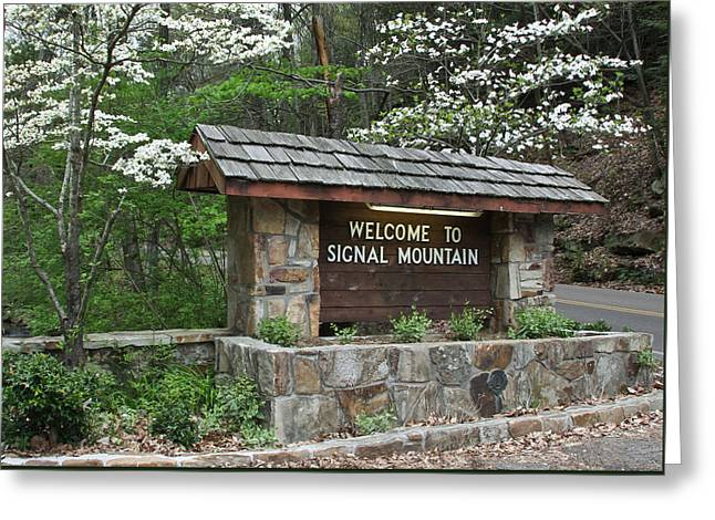 Welcome To Signal Mountain Spring Greeting Card by Tom and Pat Cory