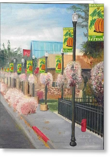 Greeting Card featuring the painting Welcome To Vernal by Sherril Porter