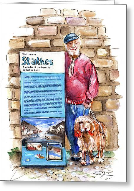 Welcome To Staithes On Old Jacks Boat Greeting Card by Miki De Goodaboom