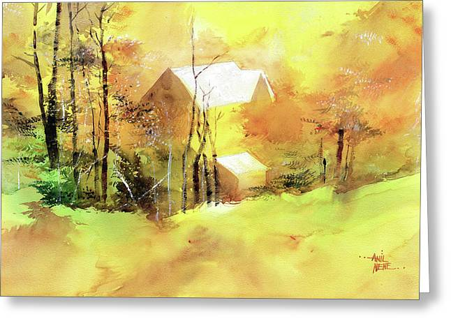 Greeting Card featuring the painting Welcome Winter by Anil Nene
