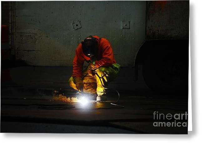 Welder At Work Greeting Card by Nishanth Gopinathan