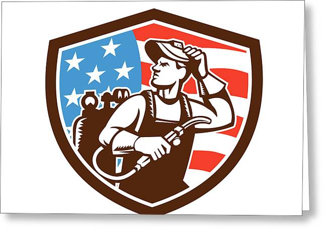 Welder Looking Side Usa Flag Crest Retro Greeting Card by Aloysius Patrimonio