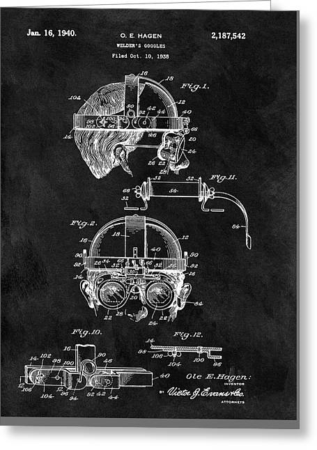 Welding Goggles Patent Greeting Card by Dan Sproul