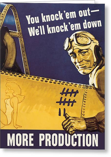 We'll Knock 'em Down - Ww2 Propaganda Greeting Card