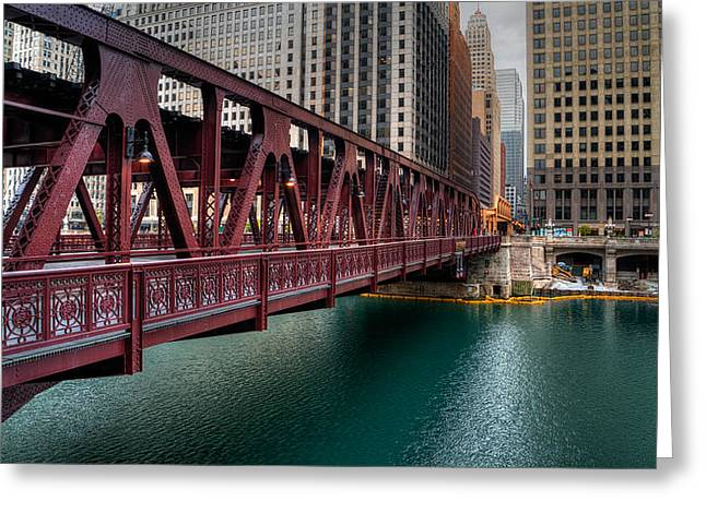 Well Street Bridge, Chicago Greeting Card