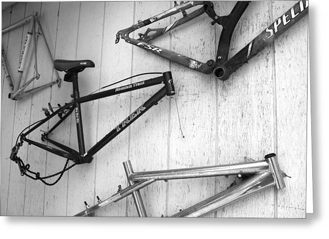 Well Worn Mountain Bike Frames  Greeting Card