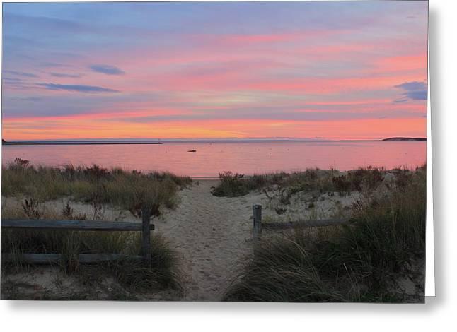 Wellfleet Harbor Sunset From Mayo Beach Greeting Card by John Burk