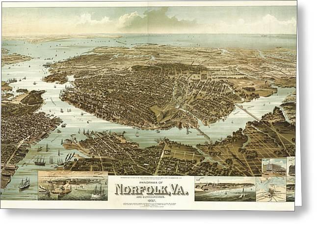 Wellge's Norfolk Virginia Birdseye Map  Greeting Card by Celestial Images