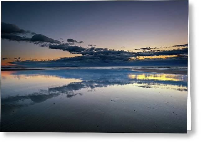 Wells Beach Reflections Greeting Card by Rick Berk