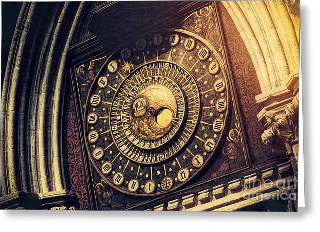 Wells Cathedral Astronomical Clock  Greeting Card by Tim Gainey