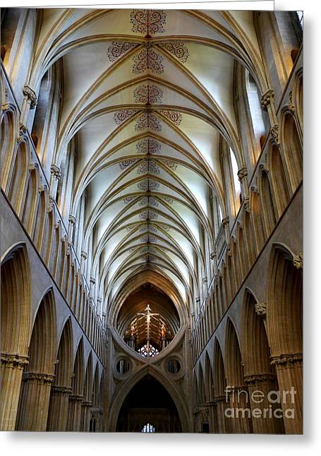 Wells Cathedral Ceiling  Greeting Card by Lexa Harpell