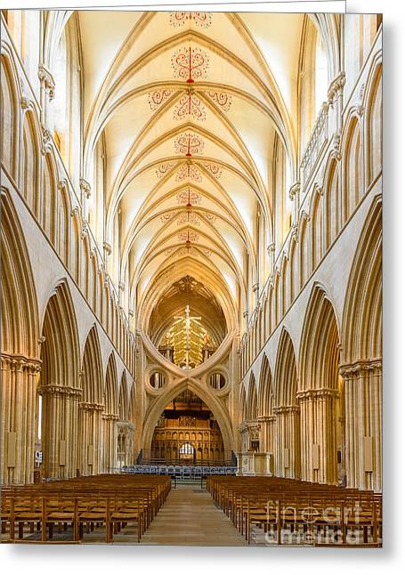 Wells Cathedral Nave Greeting Card by Colin Rayner