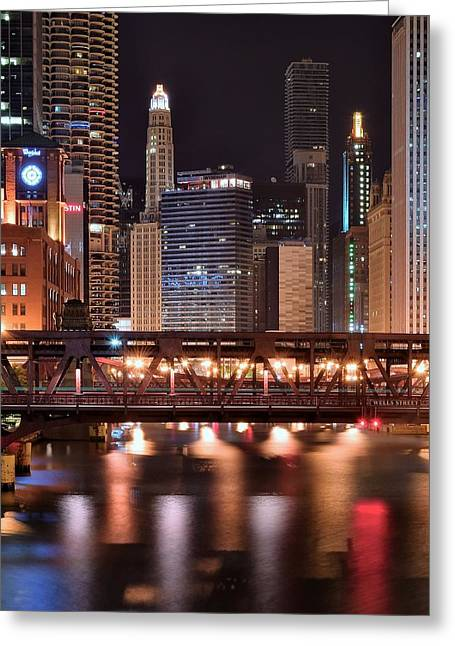 Wells Street Bridge Greeting Card by Frozen in Time Fine Art Photography