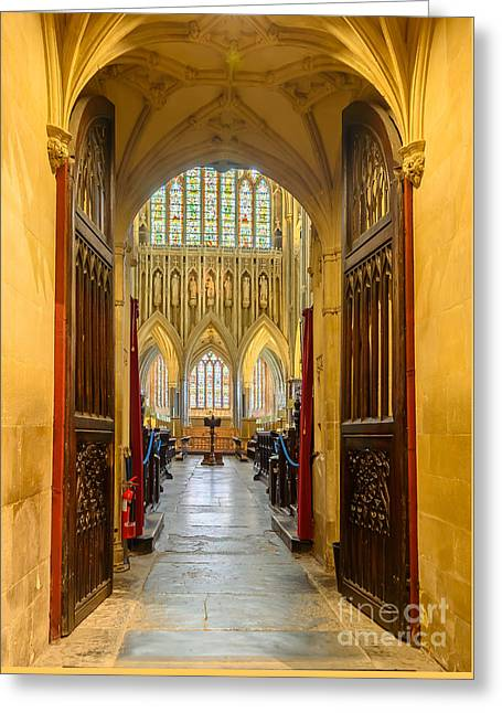 Wellscathedral, The Quire Greeting Card by Colin Rayner