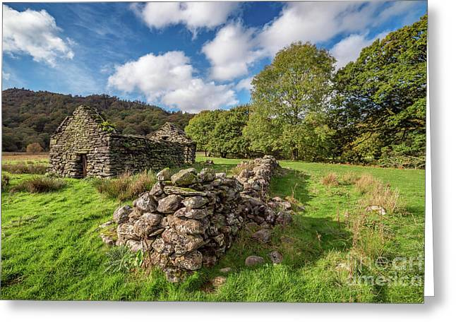 Welsh Cottage Ruin Greeting Card by Adrian Evans