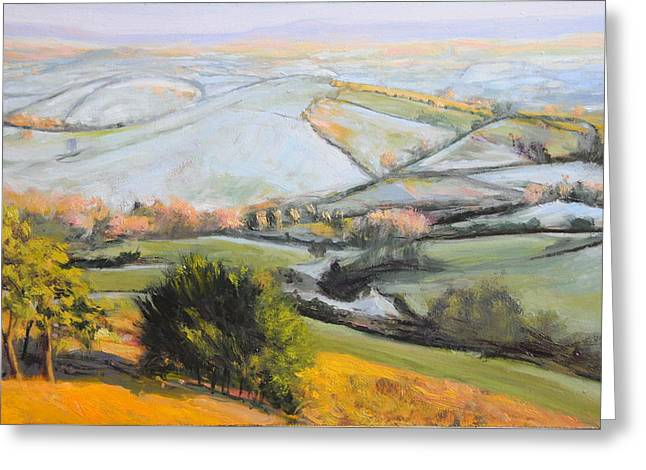 Welsh Landscape In Winter Greeting Card by Harry Robertson