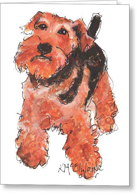 Welsh Terrier Or Schnauzer Watercolor Painting By Kmcelwaine Greeting Card