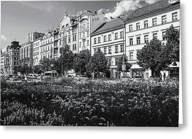 Greeting Card featuring the photograph Wenceslas Square In Prague by Jenny Rainbow