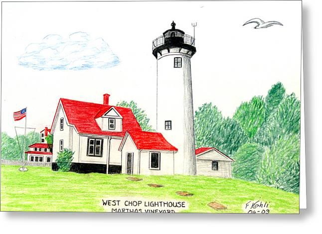 West Chop Lighthouse Greeting Card by Frederic Kohli