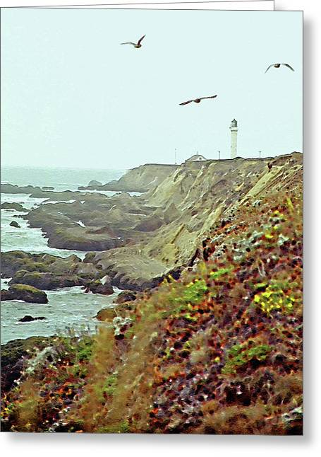 West Coast 4 - Lighthouse Greeting Card by Steve Ohlsen