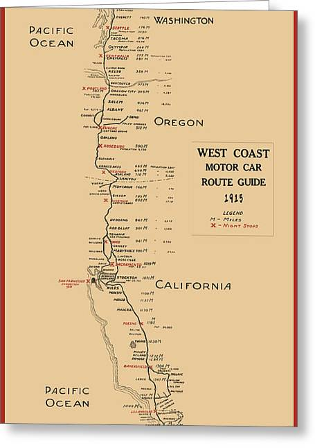 West Coast Motor Car Route Map  1915 Greeting Card