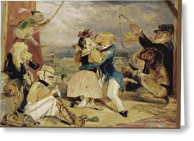 West End Fair. Monkeys And Dogs Performing On A Stage Greeting Card by Edwin Landseer