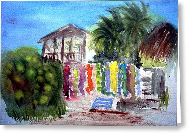 Greeting Card featuring the painting West End Market by Donna Walsh