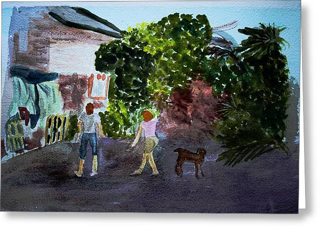 Greeting Card featuring the painting West End Shopping by Donna Walsh