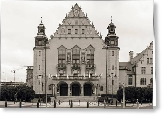 West Facade Of Adam Mickiewicz University Poznan Poland Greeting Card
