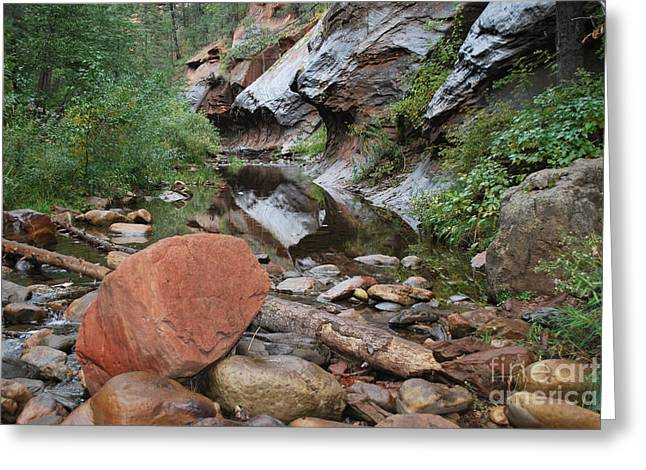 West Fork Trail River And Rock Horizontal Greeting Card by Heather Kirk