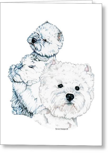 West Highland White Terriers Greeting Card by Kathleen Sepulveda