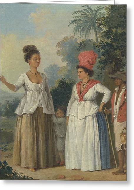 West Indian Women Of Color, With A Child And Black Servant Greeting Card by Agostino Brunias
