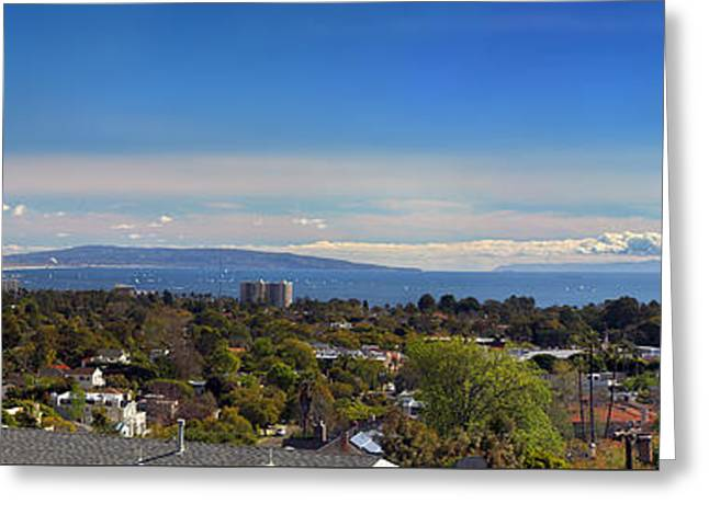 West La And Catalina Island From Pacific Palisades Greeting Card