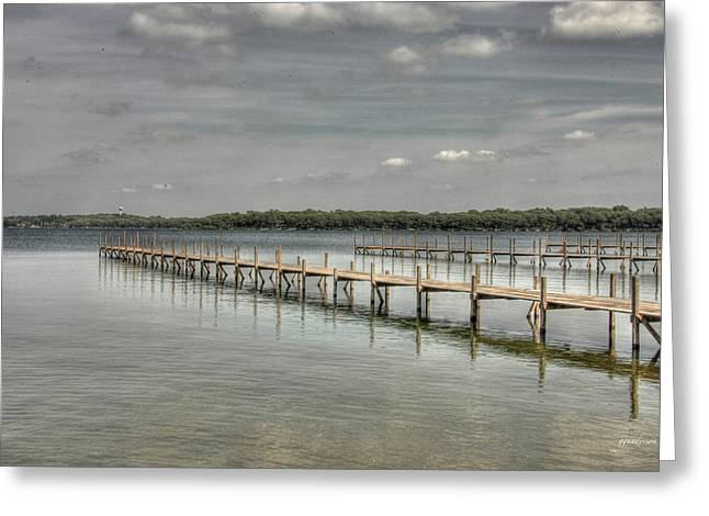 West Lake Docks Greeting Card by Gary Gunderson