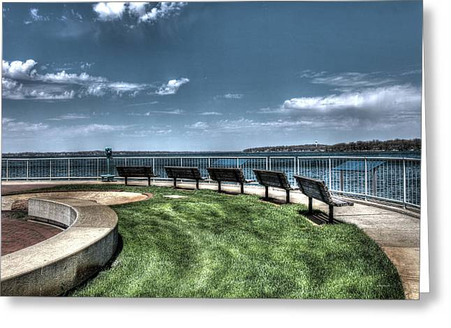 West Lake Okoboji Pier Greeting Card by Gary Gunderson