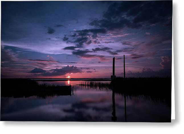 West Lake Toho Blu Indigo Sunset Greeting Card
