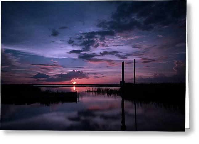 West Lake Toho Blu Indigo Sunset Greeting Card